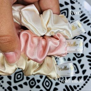 3 pack silk scrunchies nude collection